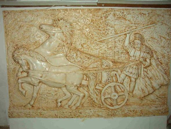 płaskorzeźba-konie